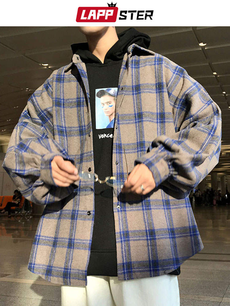 Plaid Shirt Color-Block Long-Sleeve LAPPSTER Mens Streetwear Vintage Men Harajuku Male
