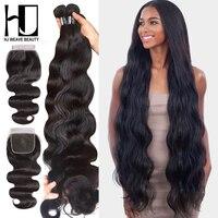 HJ Weave Beauty Body Wave wiązki ludzkich włosów z zamknięciem 8 30 32 34 38 cali 7A dziewicze włosy brazylijskie włosy wyplata zestawy w 3/4 pasma z siateczką od Przedłużanie włosów i peruki na