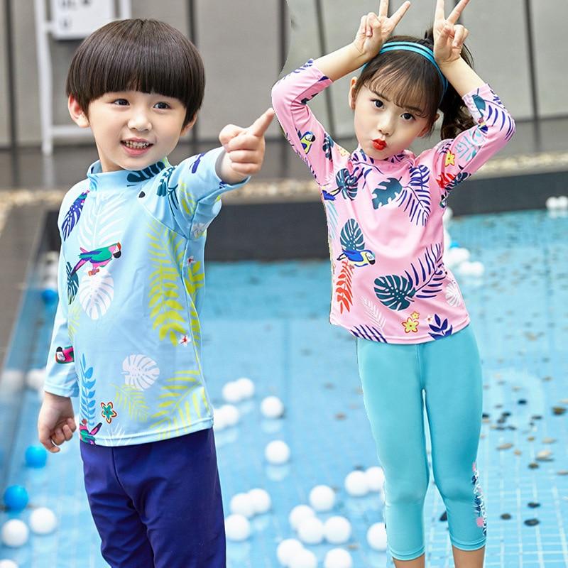 New Style Children Men And Women Children Split Type Big Boy Long Sleeve Trousers Sun-resistant Diving Suit Swimsuit Twins Item