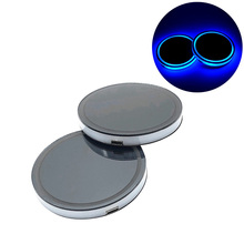 2 Pcs Solar Car Cup Holder With LED Light Bottom Mat Pad Cov