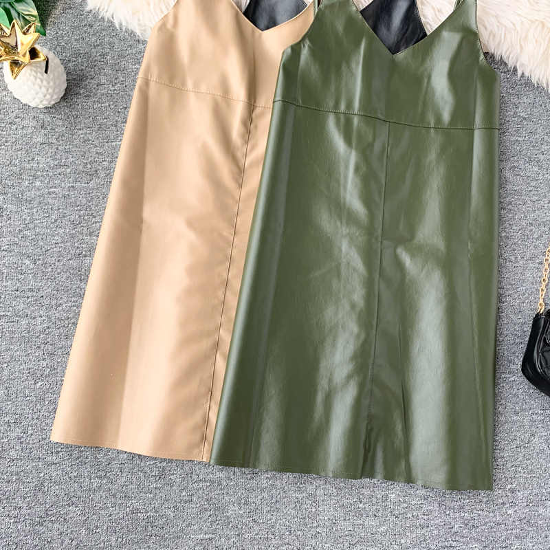 2019 春夏新作ファッション pu レザードレス女性ミニセクシーなドレスのジッパー黒ストラップドレスサンドレス vestido デ · フェスタ純粋な