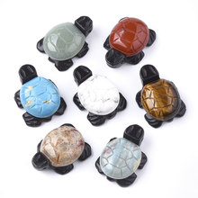 10pcs Cute Jewelry Pendants Natural & Synthetic Mixed Stone Tortoise Shape Pendants Jewelry Making Random Mixed Color(China)