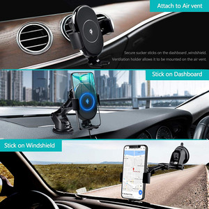 Image 4 - Qi Car Wireless Charger Mount For iPhone 11 XS XR X 8 Xiaomi Samsung Galaxy S10 S9 Auto Clamping 10W Fast Charging Phone Holder