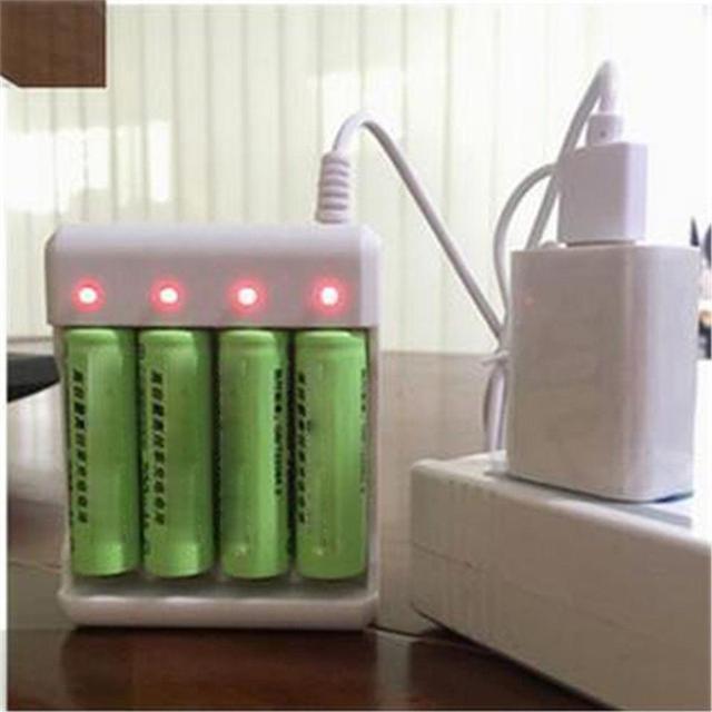 Usb 4 Slots Snelle Opladen Batterij Lader Kortsluiting Bescherming Aaa En Aa Oplaadbare Batterij Station Hoge Kwaliteit