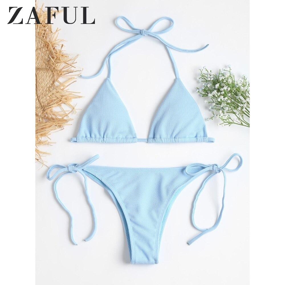 ZAFUL Sexy Swimwear Swimsuit Ribbed Tie Side High Cut Bikini Set Beach Suit Halter Padded Bathing Suit Beach Wear For Women 2020