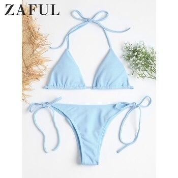 цена на ZAFUL Swimwear Swimsuit Ribbed Tie Side High Cut Bikini Set Beach Suit Halter Padded Bathing Suit Beach Wear For Women 2020 Sexy
