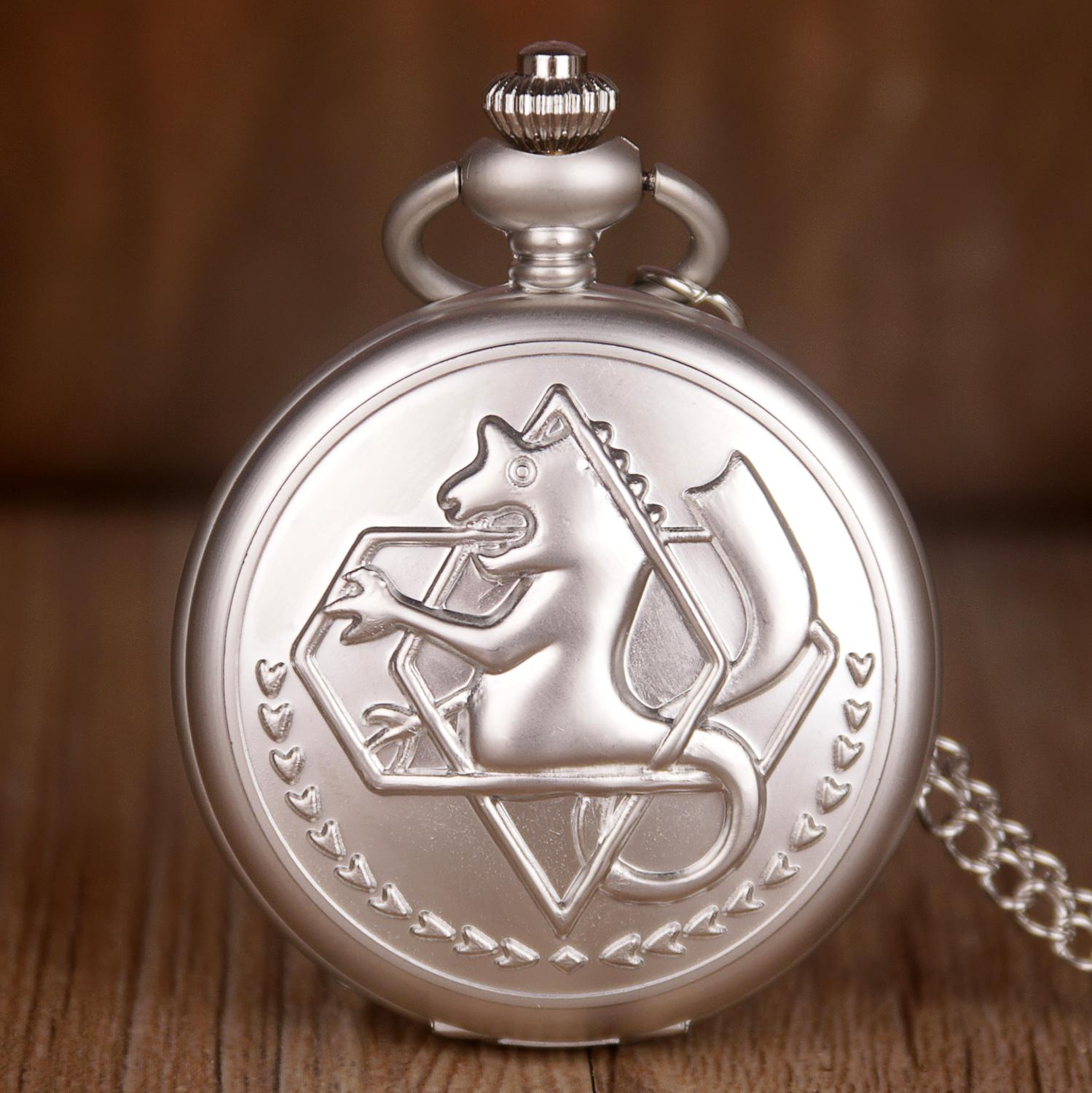 Full Metal Alchemist White Pocket Watch Pendant Men's Quartz Pocket Watches Japan Anime Necklace Chain Gifts For Children Boy
