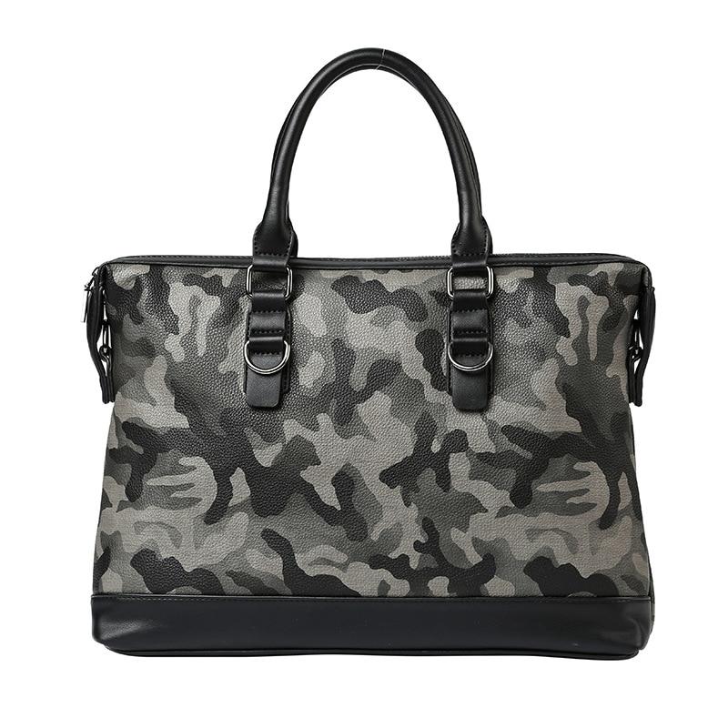 Fashion Men Leather Handbag Large Capacity Laptop Bag Camouflage Business Briefcases Casual Male Shoulder Bag For Travel