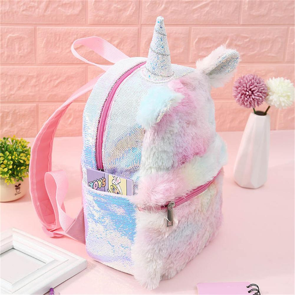 Sequins Backpack Student Toddler Unicorn Bag Women Girls Backpacks Rucksack For Teenager Plush Cartoon Schoolbags Travel Bagpack