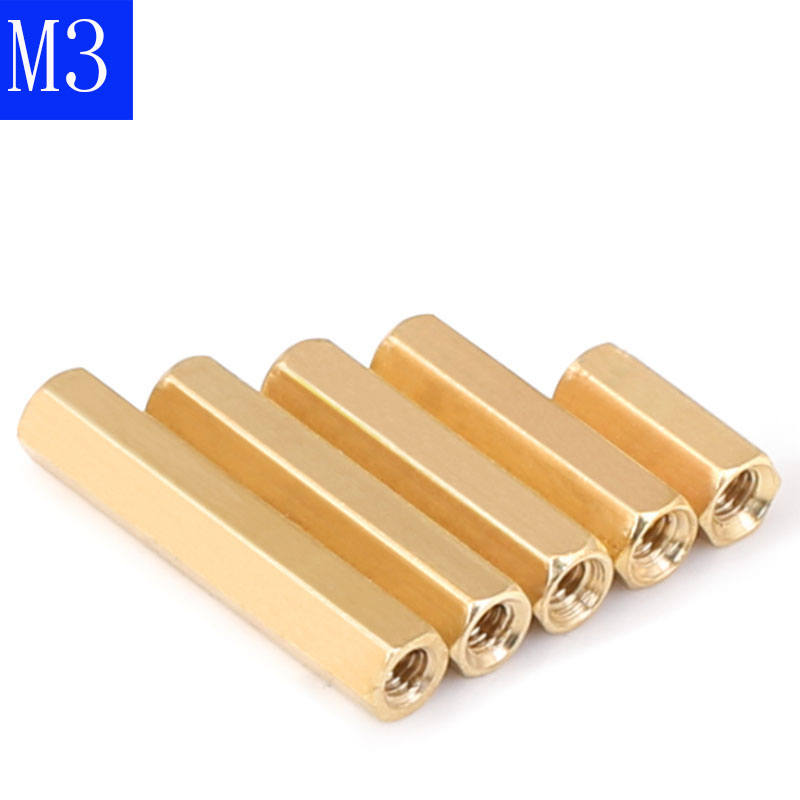 <font><b>M3</b></font> 3mm <font><b>Brass</b></font> Threaded Hex Double Pass Spacer Copper Column Support Nut For PCB Board image