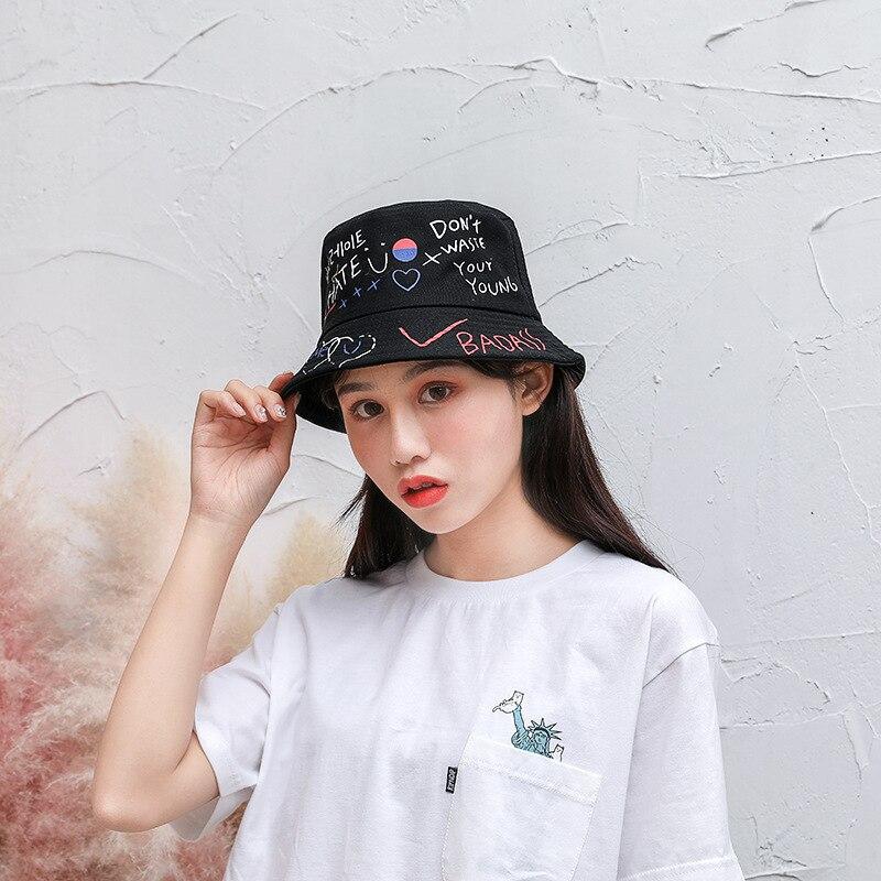 Summer Fisherman Hat Women Men Personality Graffiti Sun Hat Unisex Sunscreen Fashion Bucket Cap Casual Female Streetwear Caps