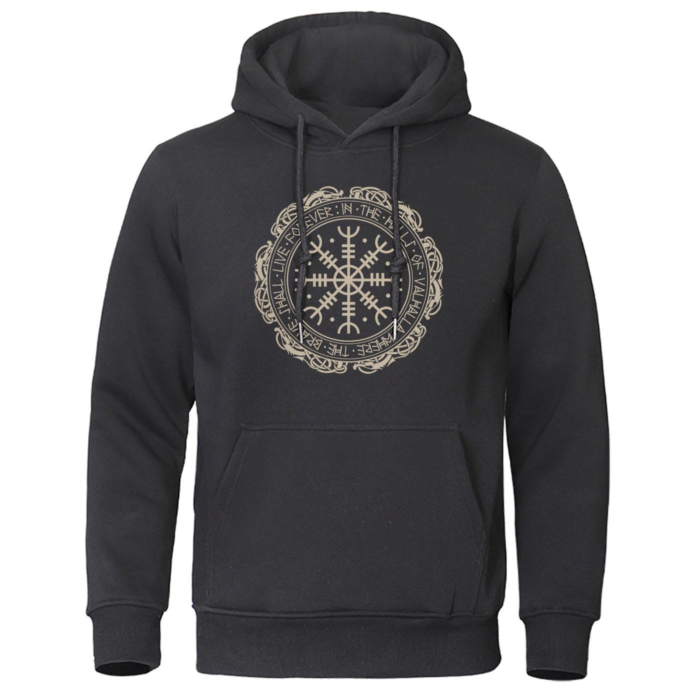 2019 Retro Classic Viking Valhalla Odin Hoodie Men Fashion Print Hoodies Hip Hop Autumn Winter Sweatshirt Harajuku Streetwear