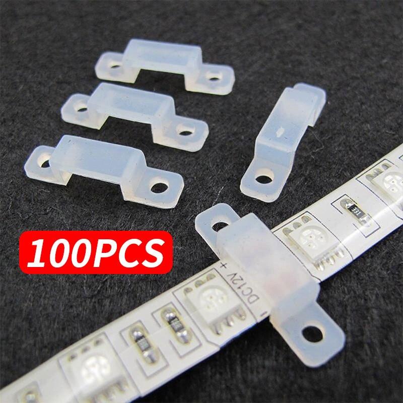 Fixer Silicon Clip Fixer Clip Silicon Fastener Soft Durable 100pcs 12mm Silicone 5050 5630 LED Strip Light Accessory Home Decor