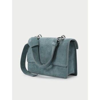 2019 Retro Sanded Leather Handbag Large Capacity OL Commuter Bag Single Shoulder Slant Female Bag