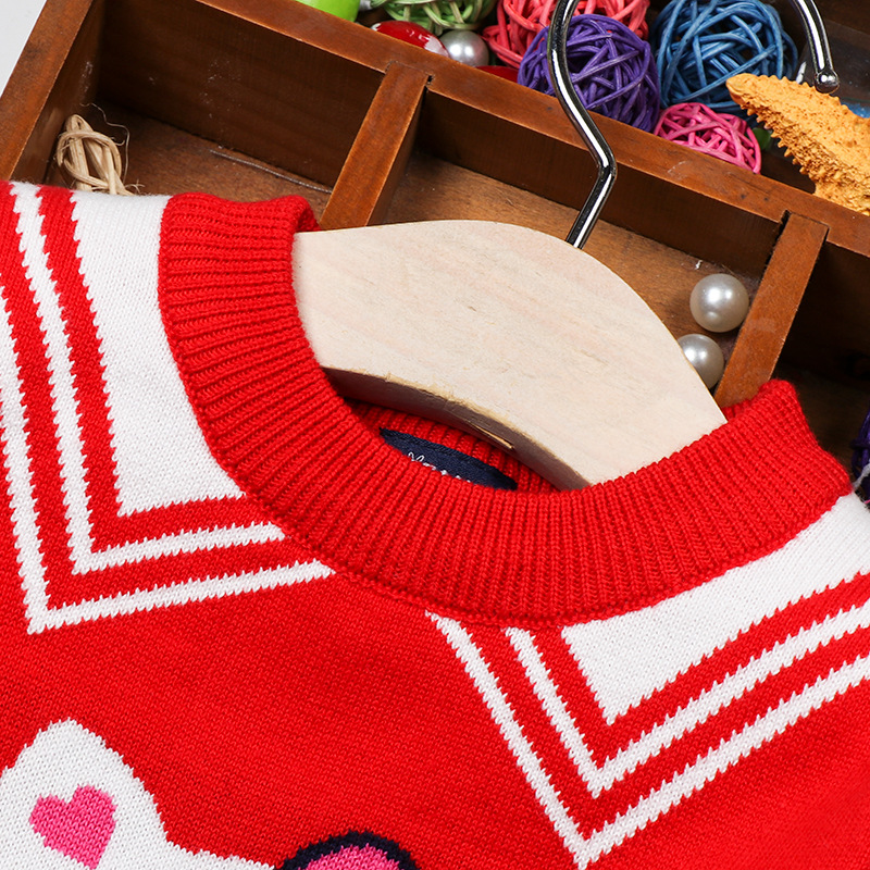 2019 Autumn And Winter New Style GIRL'S Sweater Cotton Double Layer Crew Neck Children Base Shirt GIRL'S Children Sweater Pullov