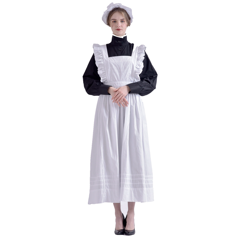 Vintage Maid Costume Dress Women Medieval Renaissance Victorian Halloween Party Housekeeper Apron Cosplay(China)