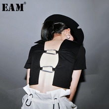 [EAM] Women Black Black Buckle Hollow Out Short Blouse New V-collar Short Sleeve