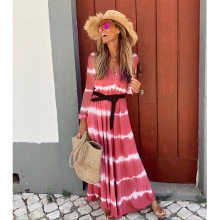 New Bohemian Fashion long Maxi dress women casual Long Sleeve Striped Printed boho with belt
