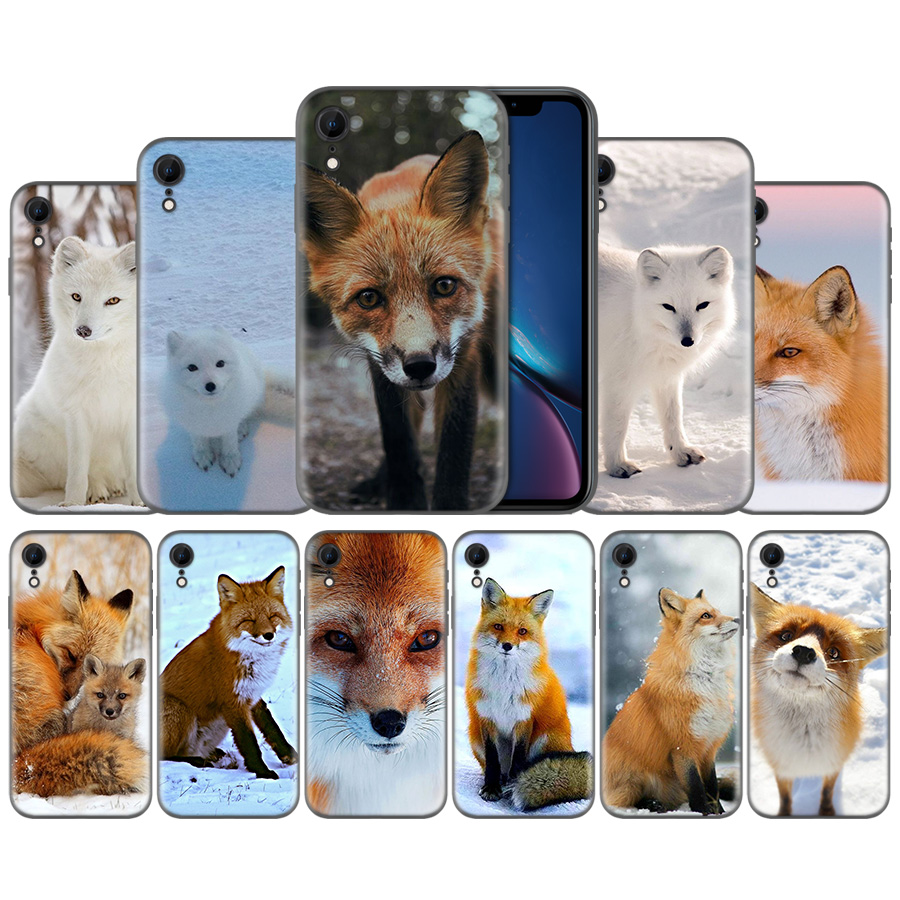 Fuchs Schlafen In Die Schnee Muster Silikon Fall Abdeckung für <font><b>iPhone</b></font> X XS XR XS 11 11Pro Max 7 8 6 <font><b>6S</b></font> 5 5S 5C SE Plus Fundas Capa image
