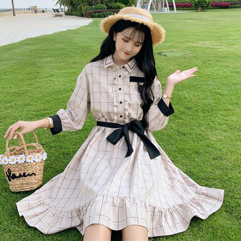 2020  Women's Spring and Autumn Students Short-Height Women's New Hipster Short Sleeve and Plaid All-match Retro lolita Dress retro cut out plaid fit and flare dress