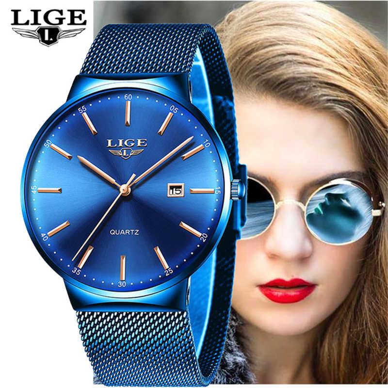 LIGE レディーストップブランドの高級アナログクォーツ時計女性フルブルーメッシュステンレス鋼日付時計ファッション超薄型ダイヤル