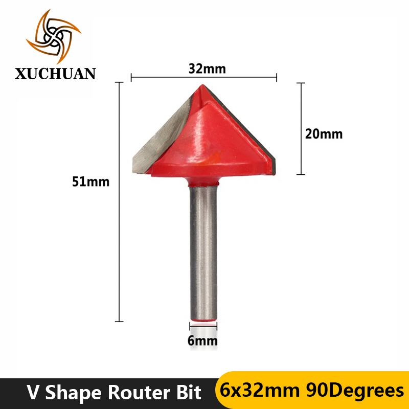 1pc 90Degrees Wood Trimmer Router Bit V Shape Solid Carbide Trimming Engraving Bit 6mm Shank Wood Milling Cutter