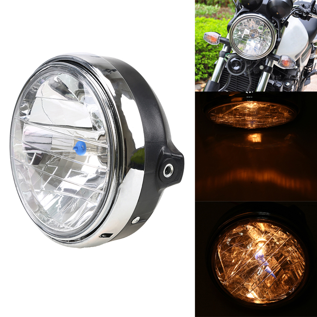 12v Motorcycle Chrome Halogen Front Headlight Lamp For Honda CB400/CB500/CB1300 Hornet 250 Hornet 600 Round Lights Bulb For Moto