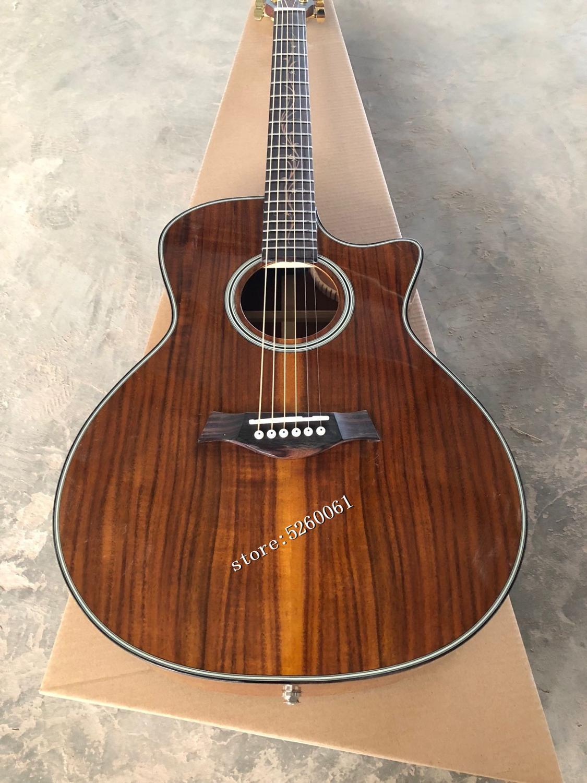 Personnalisé d'usine + haute qualité koa bois coupe k24 guitare acoustique + guitare électrique A11pickup + livraison gratuite