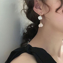 Glazed Petal Earrings 2019 New Korea Summer Contrast Long Earrings(China)