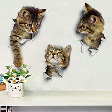 Free Shipping Cute 3d Cat Wall Sticker Living Room Bedroom Decoration Creative Pet
