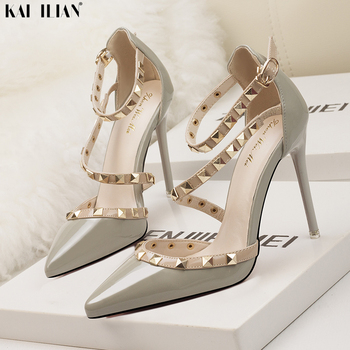 2020 Summer Shoes Women high heels pointed toe pumps Sexy Rivet ankle strap thin heels Female Sandals fashion ladies shoe party