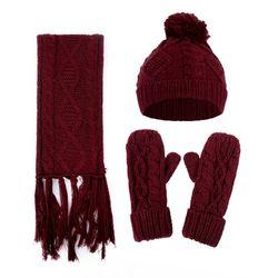 3 In 1 Women Winter Girls Rhombus Cable Knit Warm Beanie Hat Scarf Gloves Set 40JF