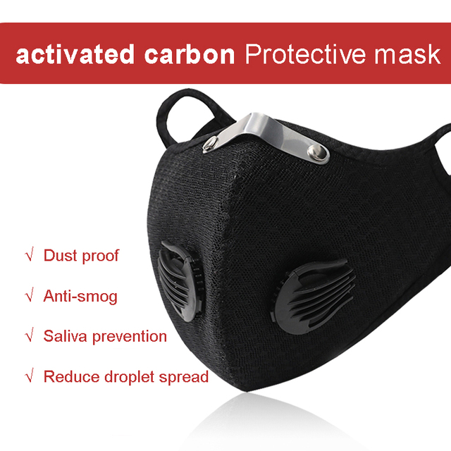 1Pcs Cycling PM2.5 Mouth Mask Activated Carbon Filter Masks Replaceable Filter Antibacterial Dustproof 5-Layers Filters Anti-flu 2
