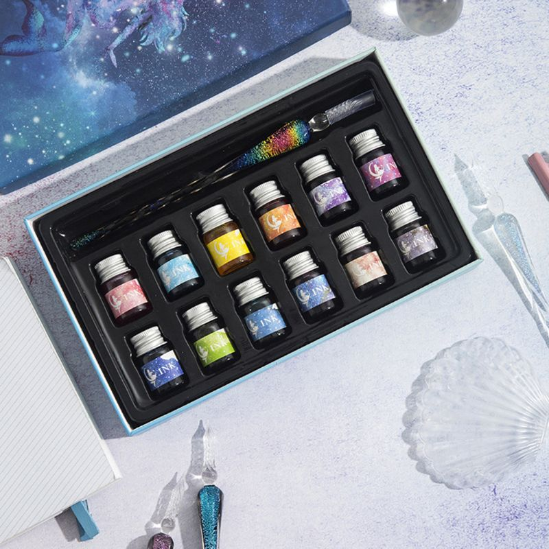 Transparent Glass Pen Starry Sky Dip Pen Glitter Powder Pen Ink Gift Box Set Writing Instrument Fountain Dip Pen Gift Box