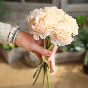 Image 4 - Simulación de peonía flores artificiales decoración para fiesta de boda ramo para el hogar pegatina de flores artificiales Decoración