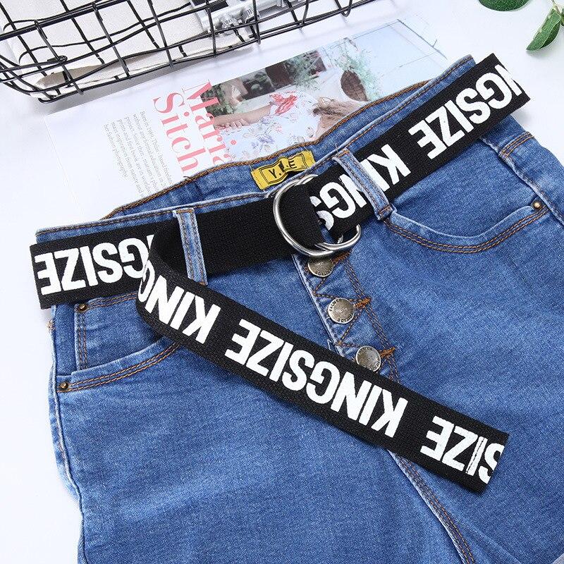 TagerWilen ремень стиль буквы напечатаны мода унисекс двойное D Кольцо холст ремень длинные джинсы ремни для женщин брезентовый мужской ремень - Цвет: KZ-Black