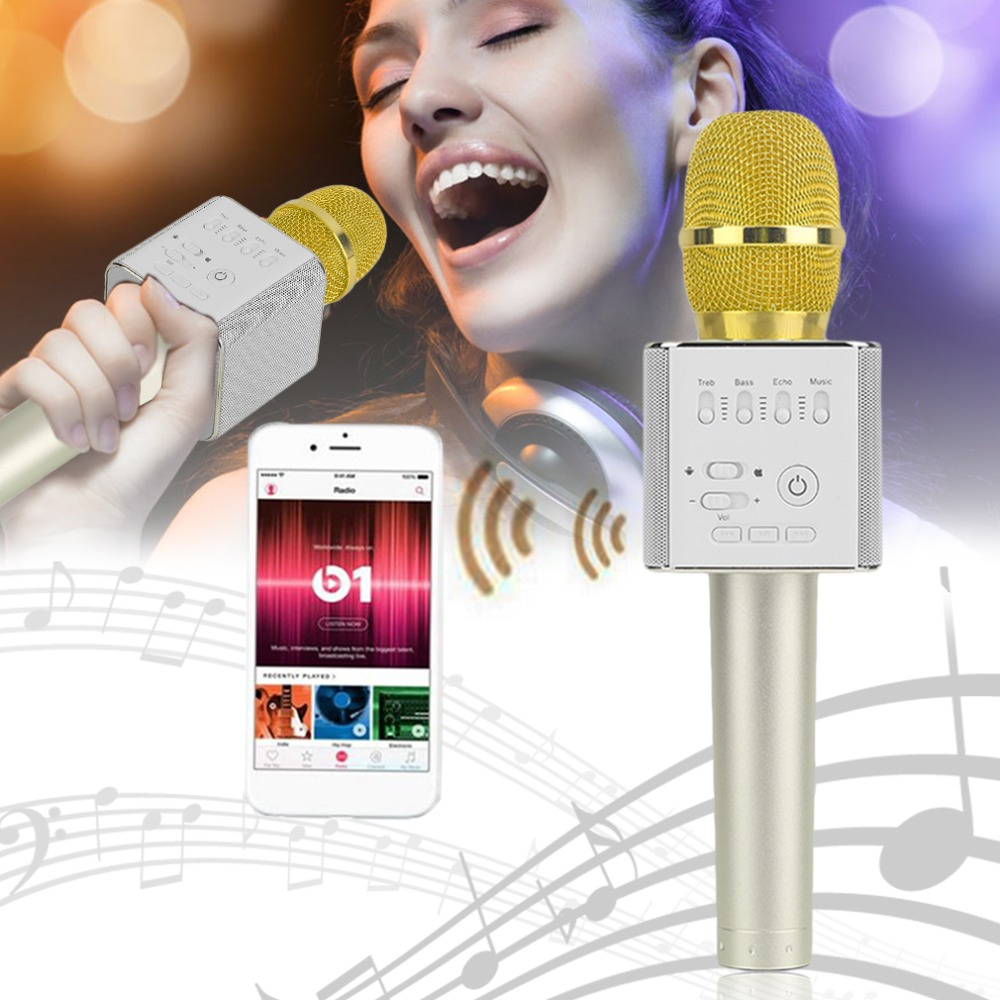Q9 Super Bass Wireless Bluetooth Mobile Phone Karaoke Microphone Handheld KTV Singing Speaker For IOS For Android New Arrival