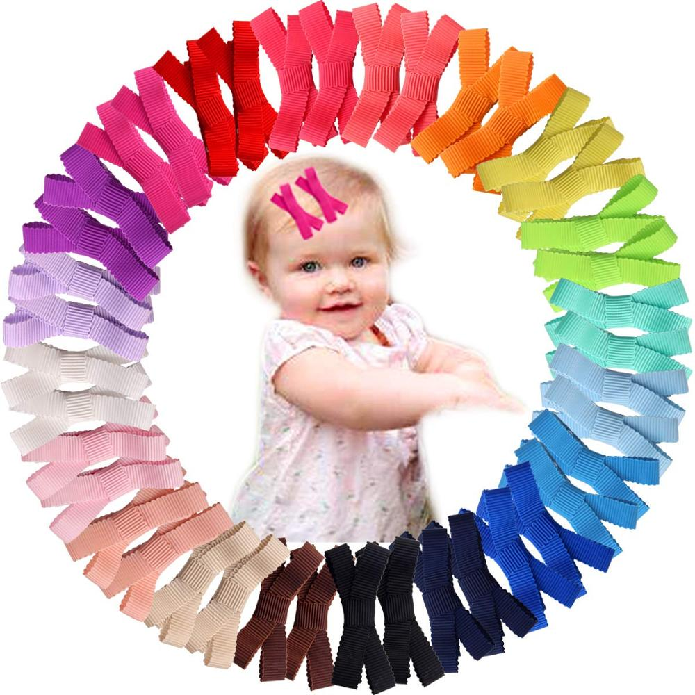 40Pcs Mixed Colors Grosgrain Ribbon Baby Girls Small Hair Bows Full Lined Hair Clips Barrettes For Infants Newborn And Toddlers