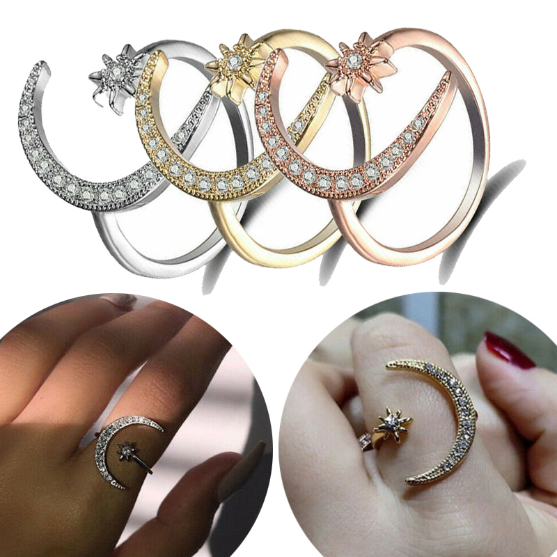 Adjustable Open Ring Crescent Shiny Moon And Tiny Star Rhinestone Crystal Ring For Women Girls Jewlery Gold Silver Rings