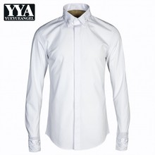 Fashion Business Casual Long Sleeve Shirts Men Square Collar Black White Brand Tuxedo Shirts Slim Embroidered Clothes Male