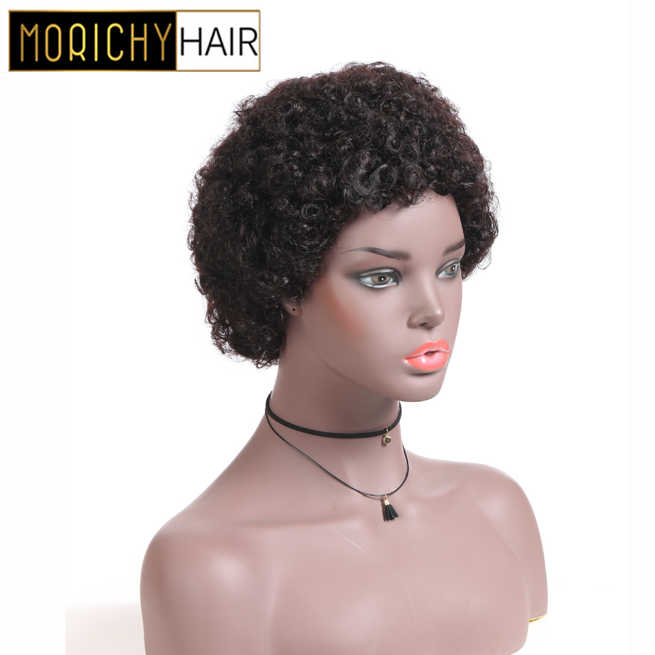 MORICHY Kinky Curly Very Short Cut Malaysian Real Non-Remy Human Hair Wigs For African Women Jerry Vintage Emo Goth Punk Styles