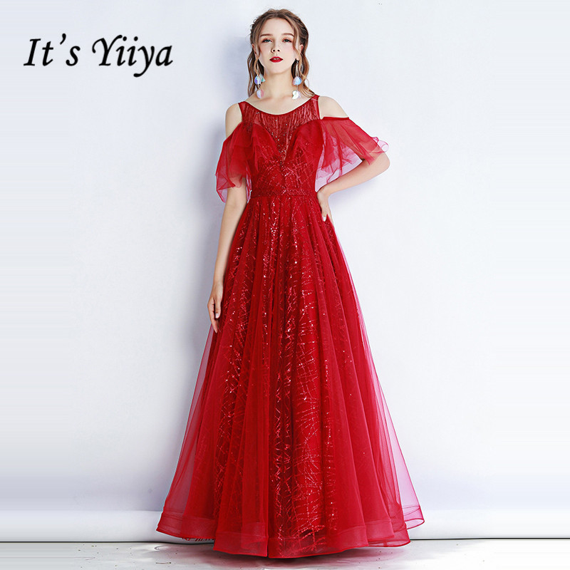 It's Yiiya Evening Dress 2019 Elegant Vintage Burgundy Sequins Ball Gowns Ruffle Sleeve O-Neck Long Party Robe De Soiree E1325