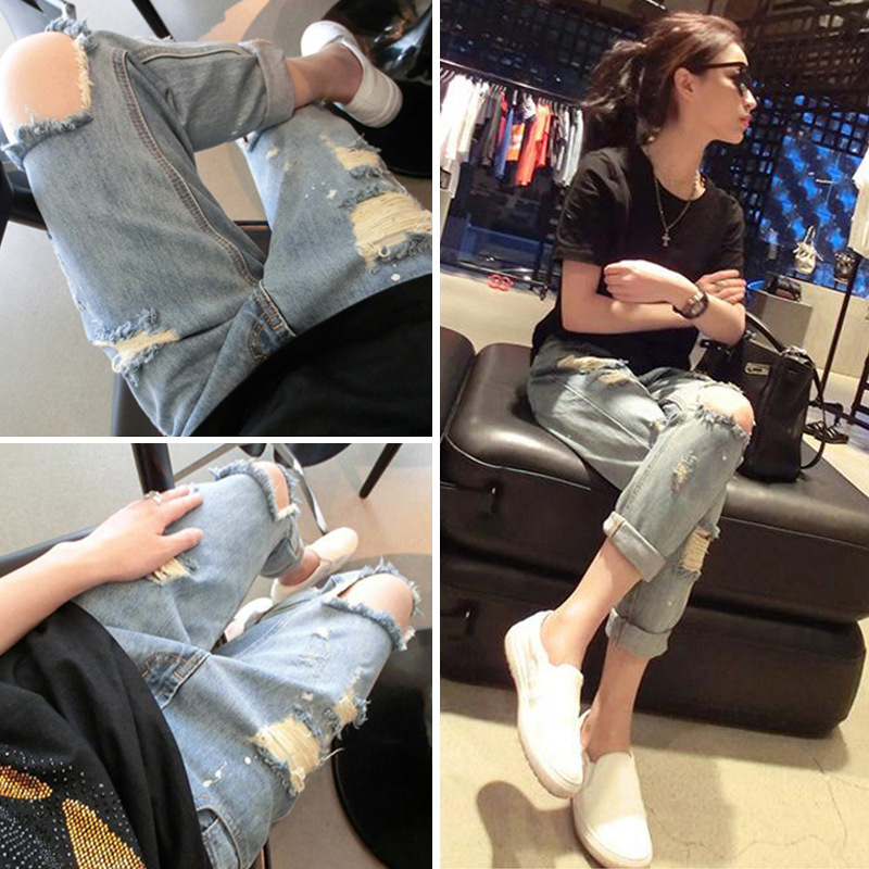 Slimming Fat Mm Capri Jeans WOMEN'S Dress Large Size 200 Loose-Fit Slimming Beggar With Holes Skinny Trousers Fashion