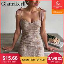 Glamaker Tweed Raster Roze Holiday Party Mini Jurk Backless Sexy Knoppen Bodycon Jurk Lente Zomer Lace Up Mouwloze Jurk(China)
