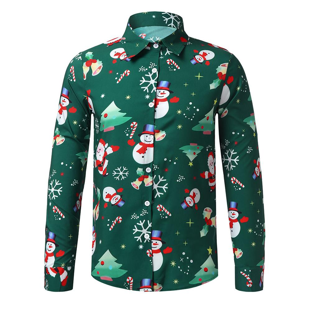 Funny Shirt Printed Long Sleeve Button Men Clothes Casual Snowflakes Christmas Shirt New Year Party Blouse Tops Chemise Homme