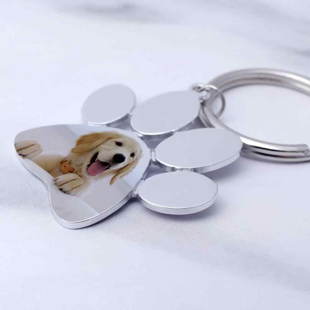 Personalizzato Portachiavi Cane, Foto Personalizzata Portachiavi, con Incisione Pet Photo Keychain, Amanti Degli Animali, Regalo di Nuovo Anno