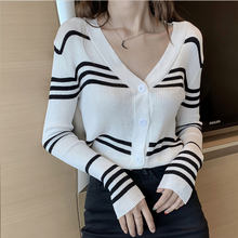 2019 Cardigan Wanita Sweater Musim Semi dan Musim Gugur Bagian Tipis Garis V-neck Sweater Single Breasted Coat Cardigan Lengan Panjang(China)