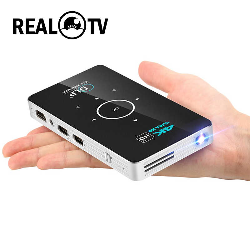 Real TV C6 Mini 4K DLP proyector Android Wifi Bluetooth 4,0 portátil de cine en casa soporte Miracast Airplay