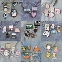 3-6 teile/satz Pin set Raum Reise Täglich Liefert Retro Maschine Spiel Liebhaber Tier Student der morgen Broschen und pins Täglichen abzeichen