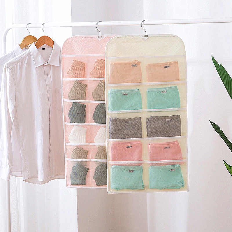 Storage Undearwear Bag Socks Bra Lingerie Closet Organizer High Quality Non-woven Hanging Storage Pouch Bags For Femal Underwear